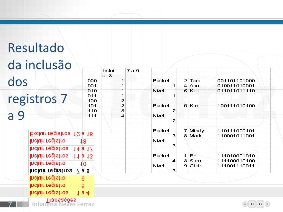 Resultado da inclusão dos registros 7 a 9 7