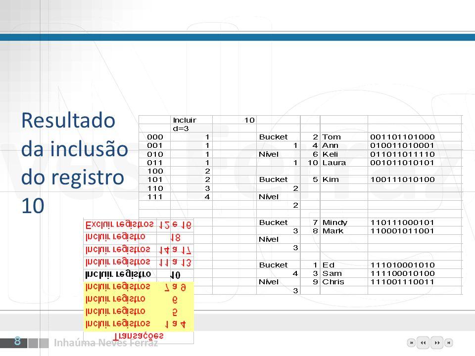 Resultado da inclusão do registro 10 8