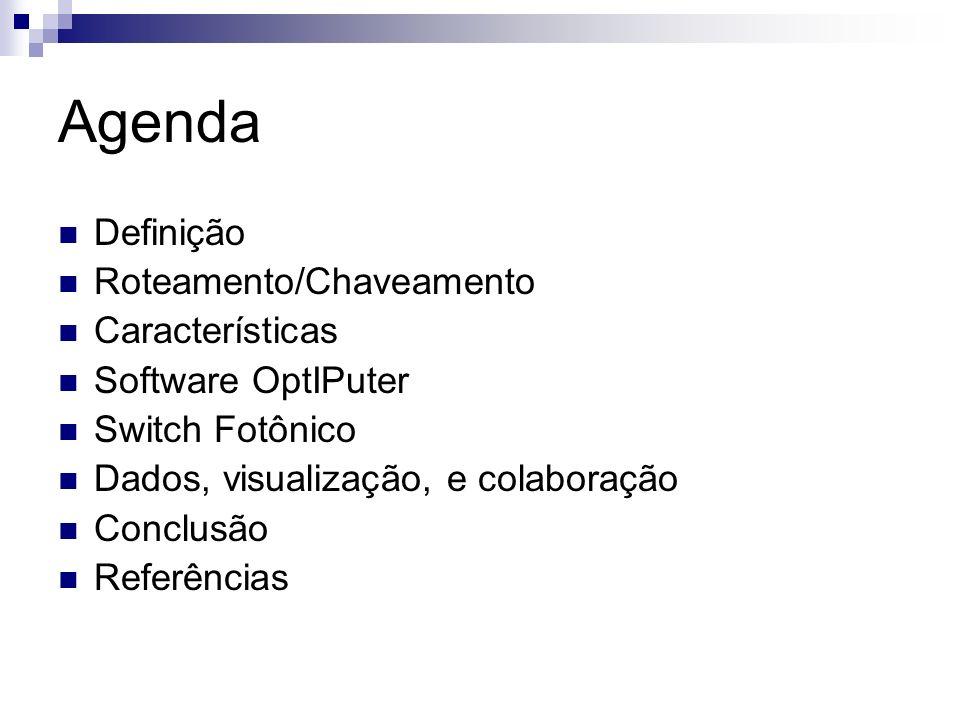 Agenda Definição Roteamento/Chaveamento Características Software OptIPuter Switch Fotônico Dados, visualização, e colaboração Conclusão Referências