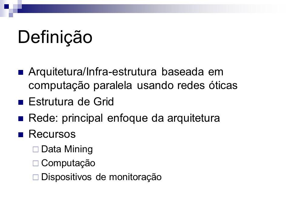 Definição Arquitetura/Infra-estrutura baseada em computação paralela usando redes óticas Estrutura de Grid Rede: principal enfoque da arquitetura Recu