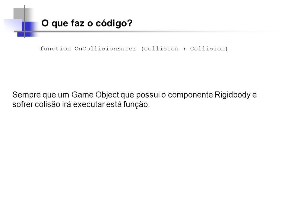 O que faz o código? function OnCollisionEnter (collision : Collision) Sempre que um Game Object que possui o componente Rigidbody e sofrer colisão irá
