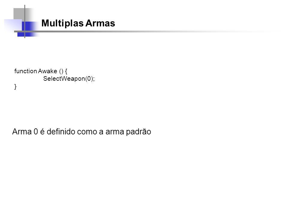 Multiplas Armas function Awake () { SelectWeapon(0); } Arma 0 é definido como a arma padrão