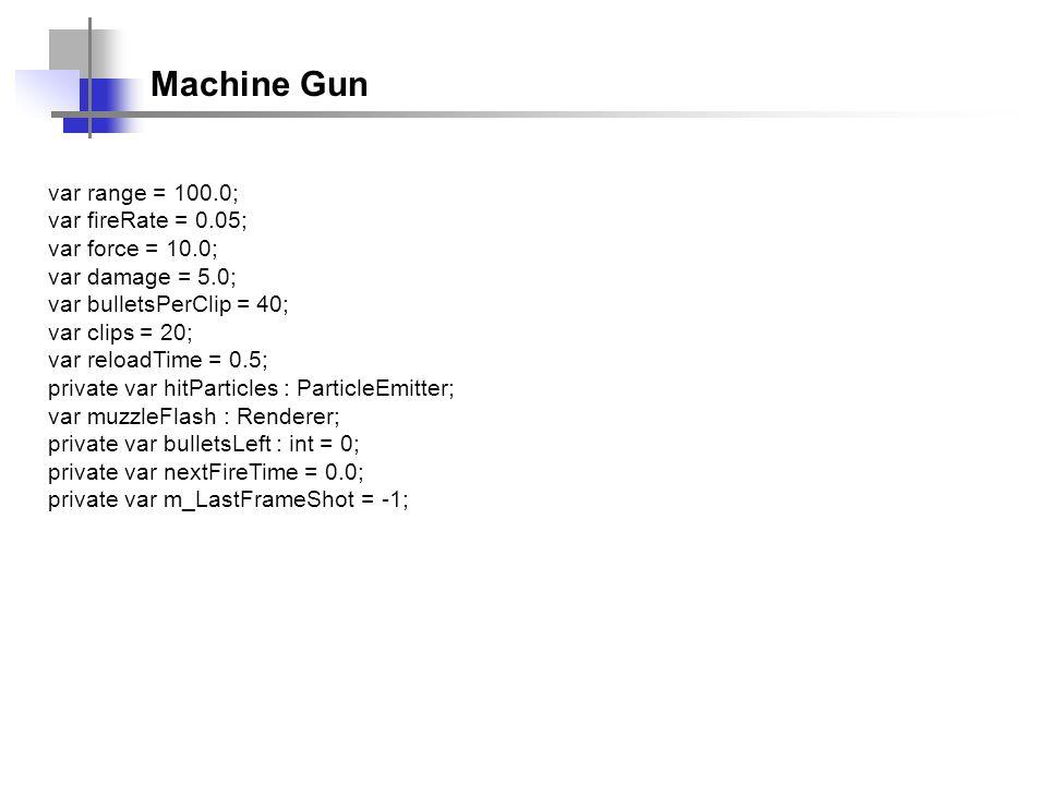 Machine Gun var range = 100.0; var fireRate = 0.05; var force = 10.0; var damage = 5.0; var bulletsPerClip = 40; var clips = 20; var reloadTime = 0.5;