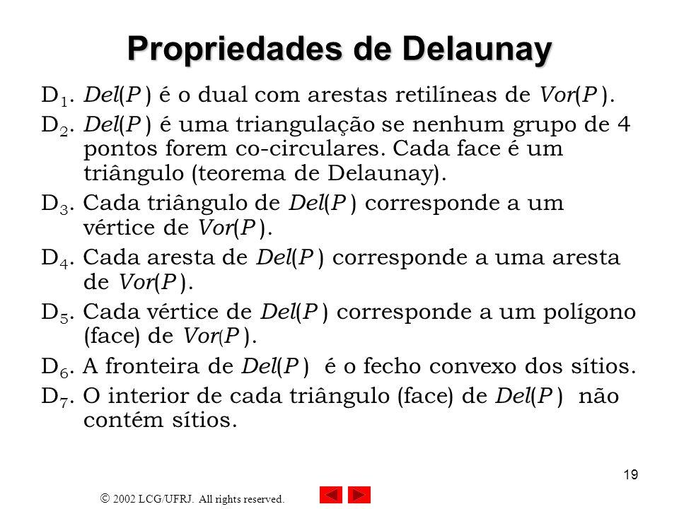 2002 LCG/UFRJ. All rights reserved. 19 Propriedades de Delaunay D 1. Del ( P ) é o dual com arestas retilíneas de Vor ( P ). D 2. Del ( P ) é uma tria