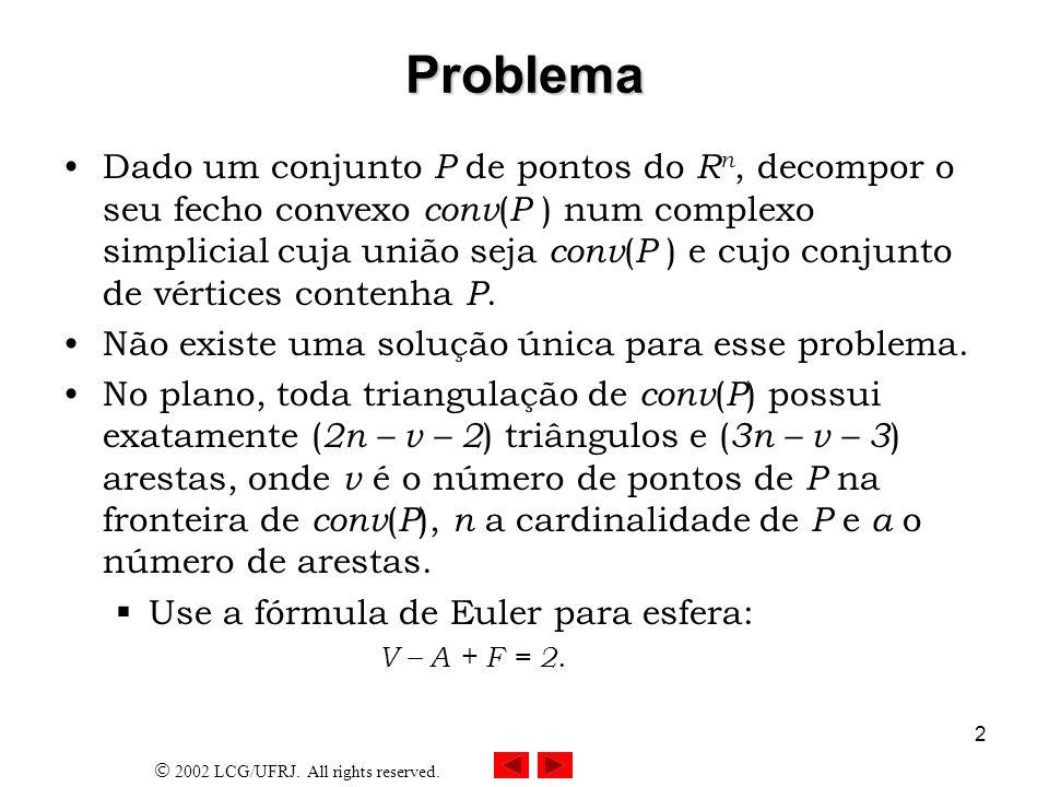 2002 LCG/UFRJ. All rights reserved. 2 Problema Dado um conjunto P de pontos do R n, decompor o seu fecho convexo conv ( P ) num complexo simplicial cu