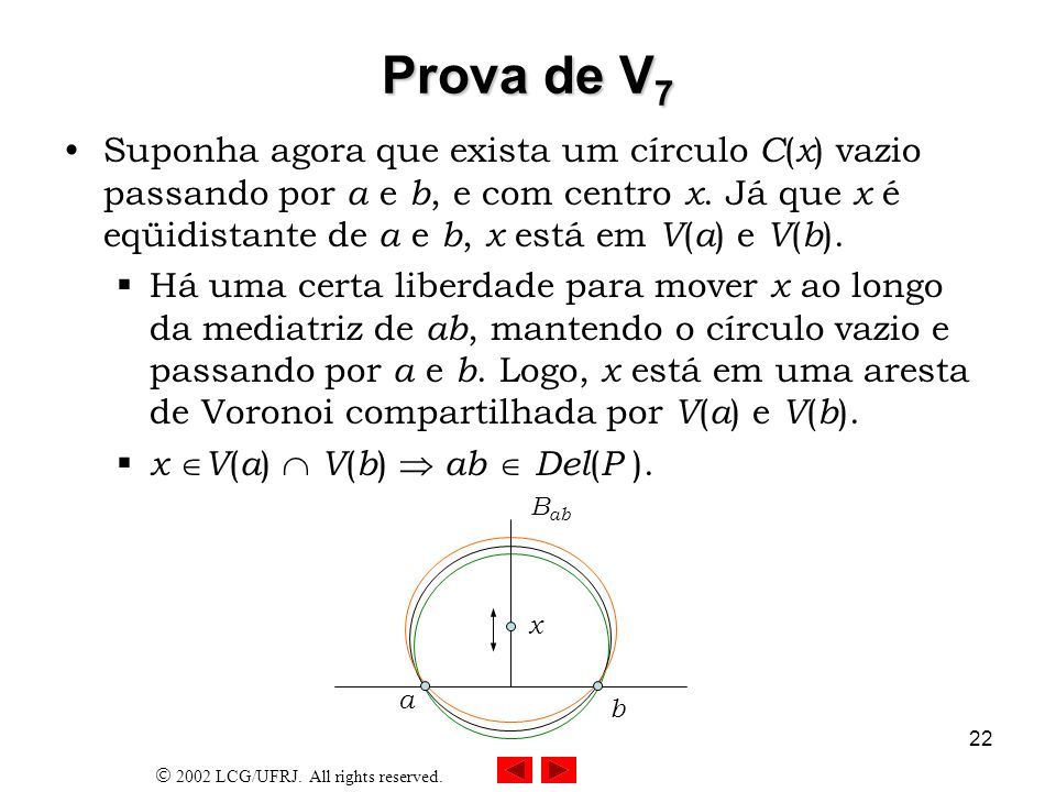 2002 LCG/UFRJ. All rights reserved. 22 Prova de V 7 Suponha agora que exista um círculo C ( x ) vazio passando por a e b, e com centro x. Já que x é e