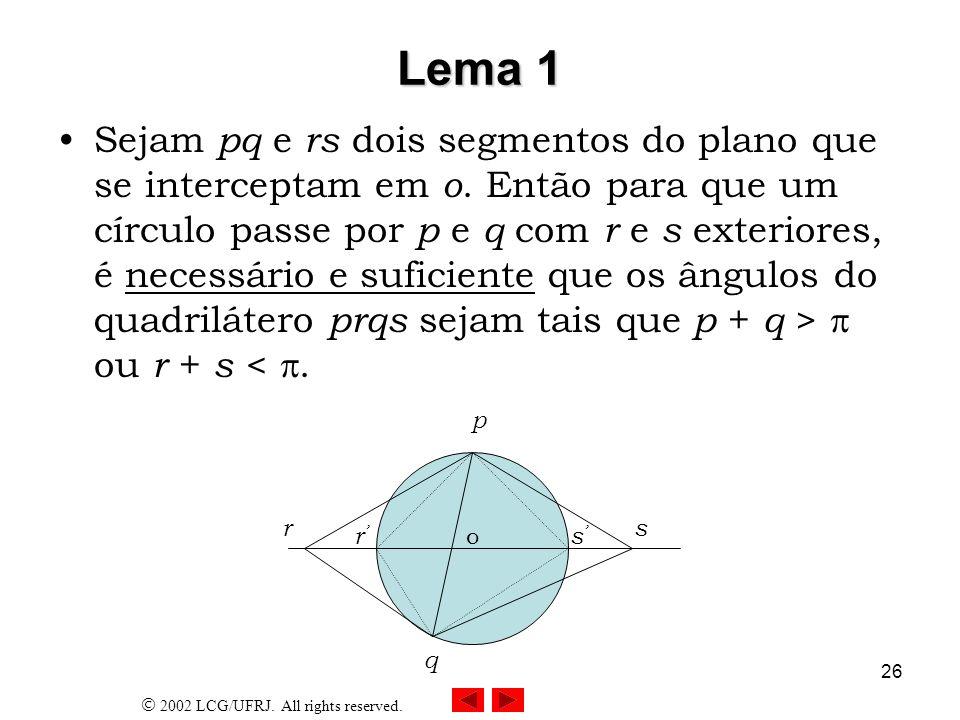 2002 LCG/UFRJ. All rights reserved. 26 Lema 1 Sejam pq e rs dois segmentos do plano que se interceptam em o. Então para que um círculo passe por p e q