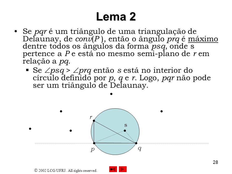 2002 LCG/UFRJ. All rights reserved. 28 Lema 2 Se pqr é um triângulo de uma triangulação de Delaunay, de conv ( P ), então o ângulo prq é máximo dentre