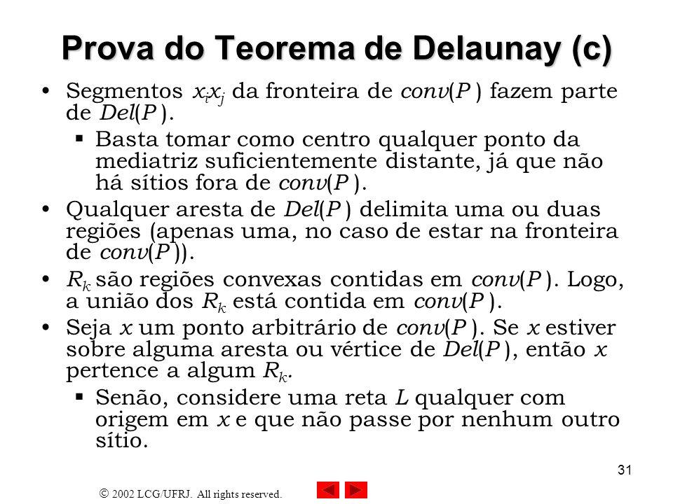 2002 LCG/UFRJ. All rights reserved. 31 Prova do Teorema de Delaunay (c) Segmentos x i x j da fronteira de conv ( P ) fazem parte de Del ( P ). Basta t