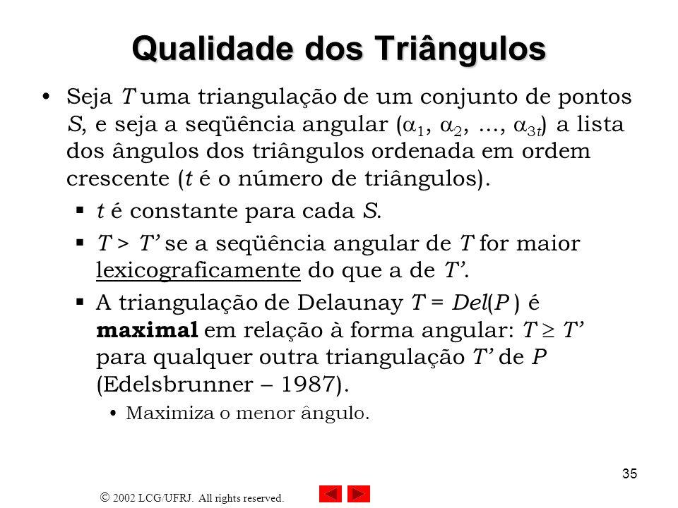 2002 LCG/UFRJ. All rights reserved. 35 Qualidade dos Triângulos Seja T uma triangulação de um conjunto de pontos S, e seja a seqüência angular ( 1, 2,