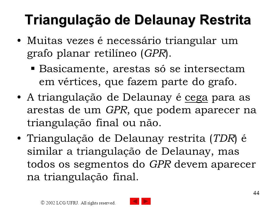 2002 LCG/UFRJ. All rights reserved. 44 Triangulação de Delaunay Restrita Muitas vezes é necessário triangular um grafo planar retilíneo ( GPR ). Basic