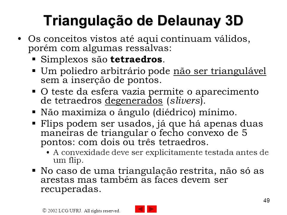 2002 LCG/UFRJ. All rights reserved. 49 Triangulação de Delaunay 3D Os conceitos vistos até aqui continuam válidos, porém com algumas ressalvas: Simple
