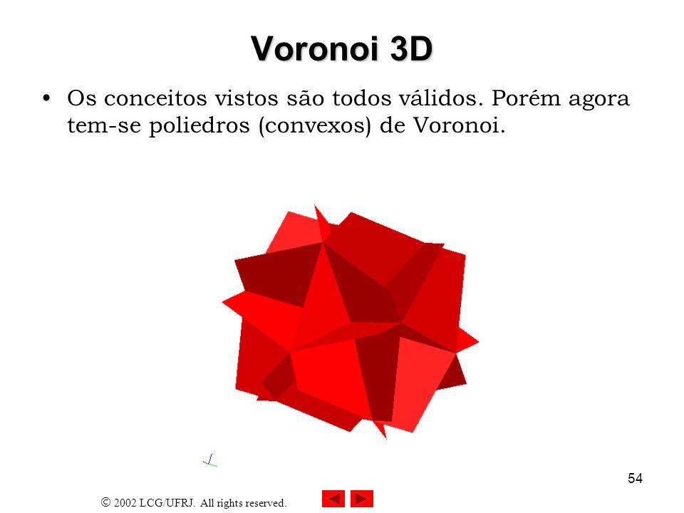 2002 LCG/UFRJ. All rights reserved. 54 Voronoi 3D Os conceitos vistos são todos válidos. Porém agora tem-se poliedros (convexos) de Voronoi.