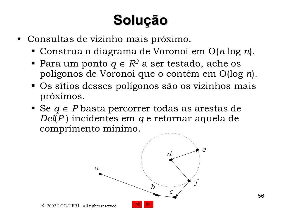 2002 LCG/UFRJ. All rights reserved. 56 Solução Consultas de vizinho mais próximo. Construa o diagrama de Voronoi em O( n log n ). Para um ponto q R 2