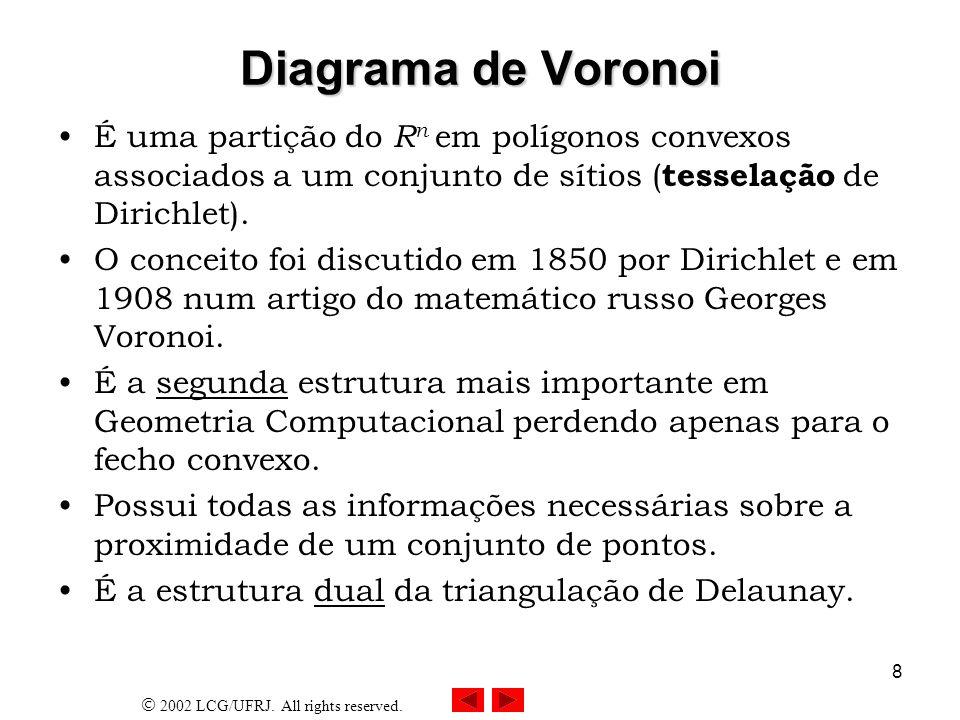 2002 LCG/UFRJ. All rights reserved. 8 Diagrama de Voronoi É uma partição do R n em polígonos convexos associados a um conjunto de sítios ( tesselação