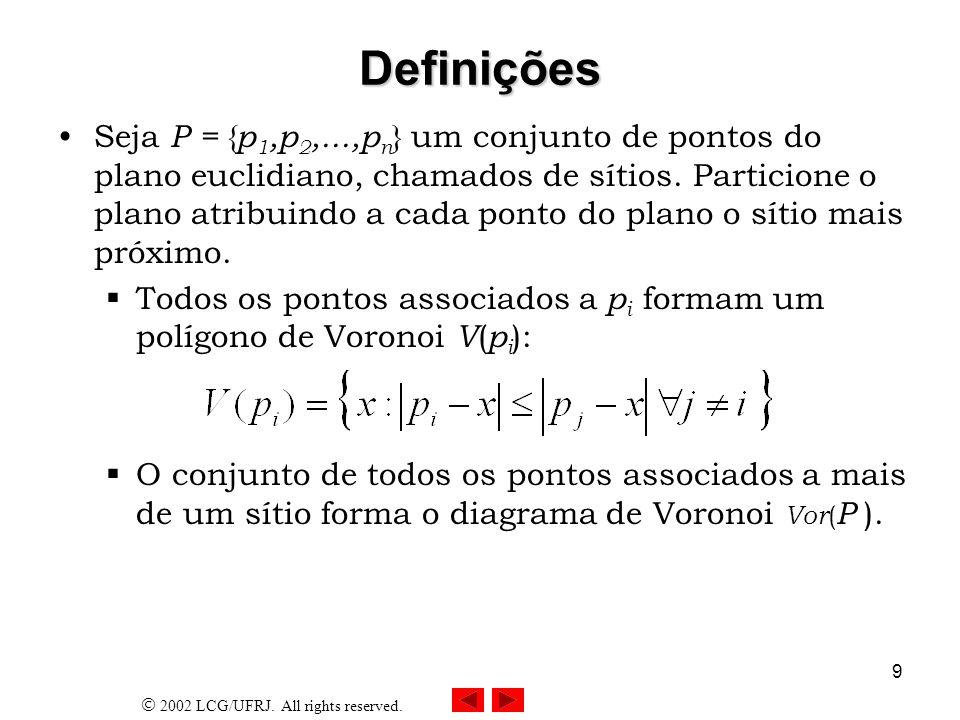 2002 LCG/UFRJ. All rights reserved. 9 Definições Seja P = { p 1,p 2,...,p n } um conjunto de pontos do plano euclidiano, chamados de sítios. Particion