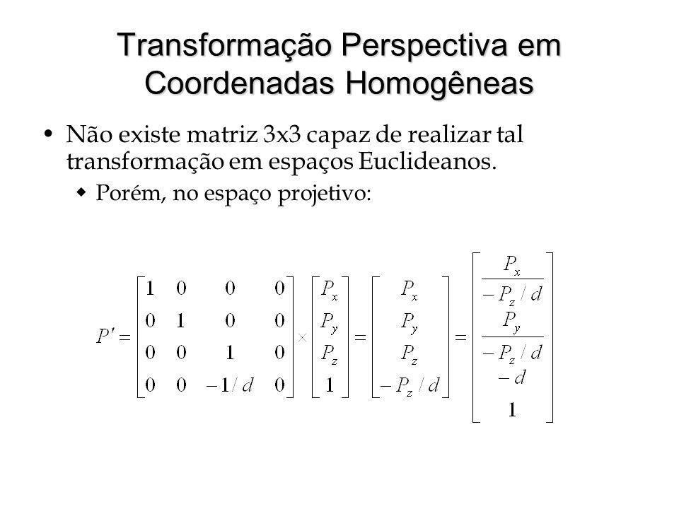 Transformação Perspectiva em Coordenadas Homogêneas Não existe matriz 3x3 capaz de realizar tal transformação em espaços Euclideanos. Porém, no espaço