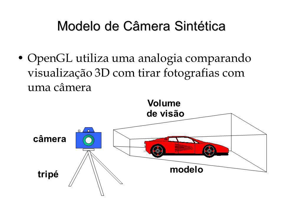 Modelo de Câmera Sintética OpenGL utiliza uma analogia comparando visualização 3D com tirar fotografias com uma câmera câmera tripé modelo Volume de v