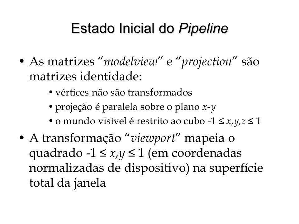 Estado Inicial do Pipeline As matrizes modelview e projection são matrizes identidade: vértices não são transformados projeção é paralela sobre o plan