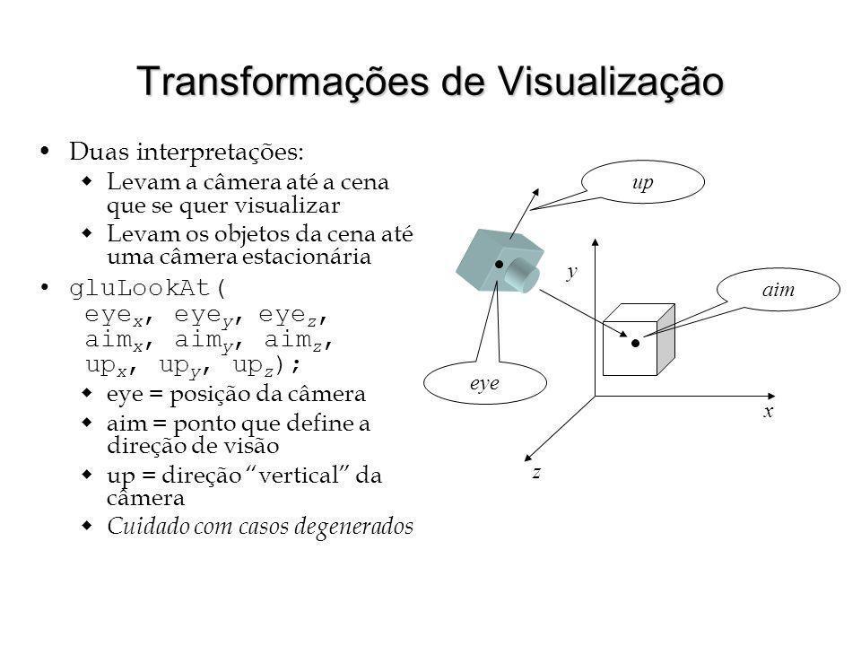 Transformações de Visualização Duas interpretações: Levam a câmera até a cena que se quer visualizar Levam os objetos da cena até uma câmera estacioná