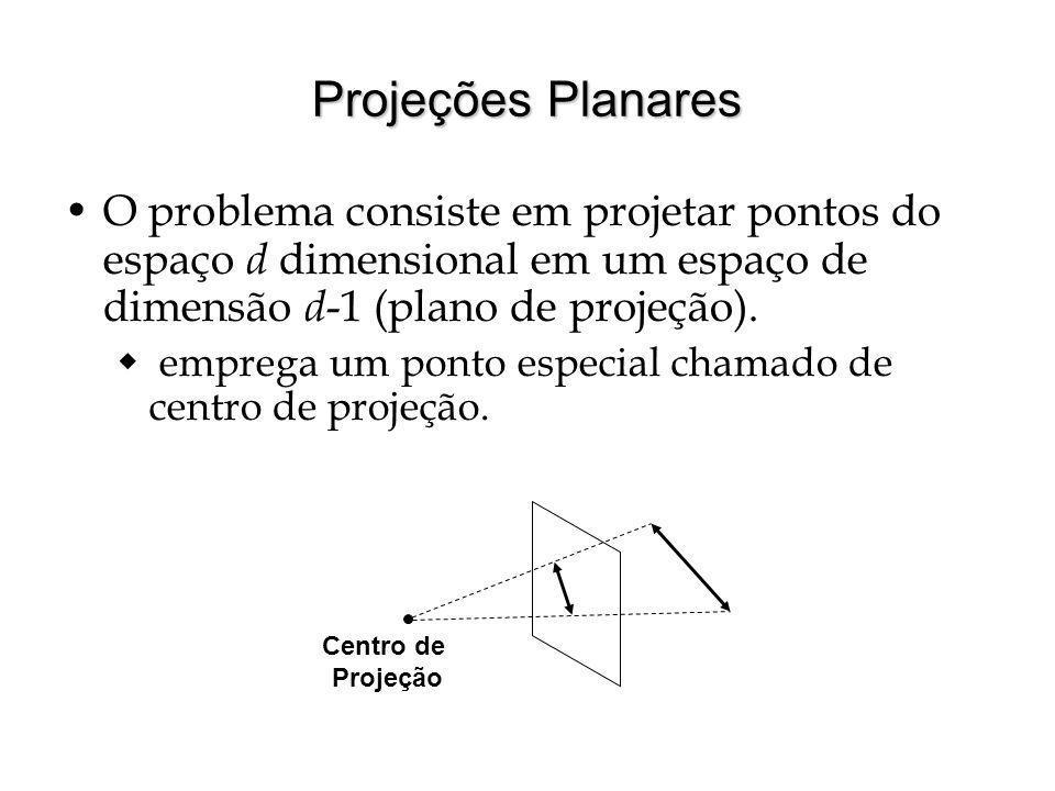 Projeções Planares O problema consiste em projetar pontos do espaço d dimensional em um espaço de dimensão d -1 (plano de projeção). emprega um ponto