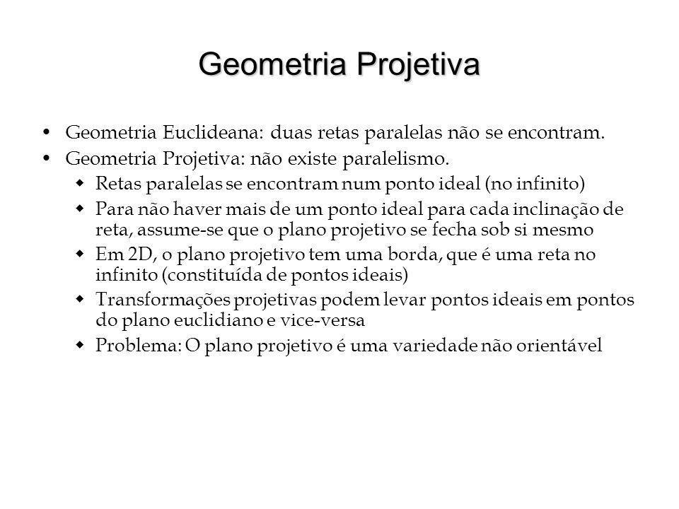 Geometria Projetiva Geometria Euclideana: duas retas paralelas não se encontram. Geometria Projetiva: não existe paralelismo. Retas paralelas se encon