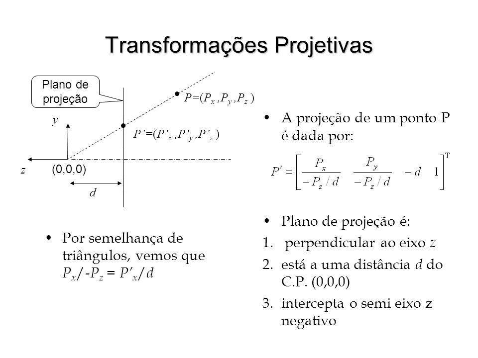 Transformações Projetivas A projeção de um ponto P é dada por: Plano de projeção é: 1. perpendicular ao eixo z 2.está a uma distância d do C.P. (0,0,0