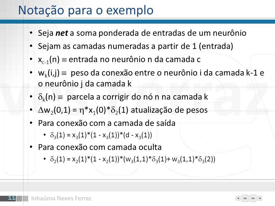 Camada oculta Neurônio 1: w 2 (0,1) = 0.341232 w 2 (1,1) = 0.129952 w 2 (2,1) =-0.923123 Camada oculta Neurônio 2: w 2 (0,2) =-0.115223 w 2 (1,2) = 0.570345 w 2 (2,2) =-0.328932 Camada de saía Neurônio 1: w 3 (0,1) =-0.993423 w 3 (1,1) = 0.164732 w 3 (2,1) = 0.752621 Entrada inicial x 1 (0) = 1 (bias) x 1 (1) = 0 x 1 (2) = 0 12 Exemplo – Inicialização