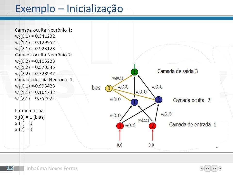 Para a camada oculta os resultados da função somadora são Neurônio 1: (1 * 0.341232) + (0 * 0.129952) + (0 * -0.923123) = 0.341232 Neurônio 2: (1 *-0.115223) + (0 * 0.570345) + (0 * -0.328932) = -0.115223 Aplicando a função de ativação logística temos x 2 (1) = 1/(1+e^(-0.341232)) = 0.584490 x 2 (2) = 1/(1+e^( 0.115223)) = 0.471226 13 Exemplo – Treinamento Forward Camada oculta Neurônio 1: w 2 (0,1) = 0.341232 w 2 (1,1) = 0.129952 w 2 (2,1) =-0.923123 Camada oculta Neurônio 2: w 2 (0,2) =-0.115223 w 2 (1,2) = 0.570345 w 2 (2,2) =-0.328932