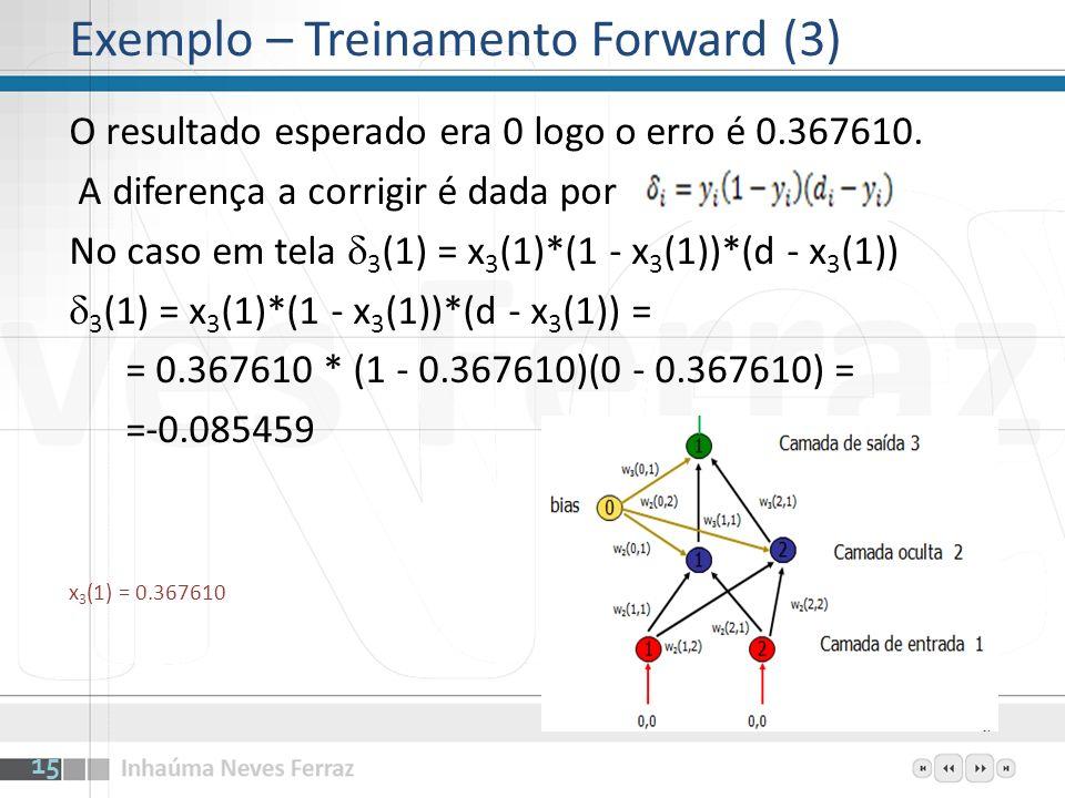 Para os neurônios da camada oculta as diferenças a corrigir são w 3 (1,1) 3 (1) é a diferença a corrigir neurônio 1 w 3 (2,1) 3 (1) é a diferença a corrigir neurônio 2 2 (1) = x 2 (1)*(1 - x 2 (1))*w 3 (1,1)* 3 (1) = 0.584490 * (1 - 0.584490)*(0.164732)*(-0.085459) = -0.0034190 2 (2) = x 2 (2)*(1 - x 2 (2))*w 3 (1,1)* 3 (1) 2 (2) = 0.471226 * (1 - 0.471226)*(0.752621)*(-0.085459) = -0.0160263 x 2 (0) = 1 (bias) x 2 (1) = 0.584490 x 2 (2) = 0.471226 3 (1) =-0.085459 w 3 (1,1) = 0.164732 w 3 (2,1) = 0.752621 16 Exemplo – Treinamento Backward (1)