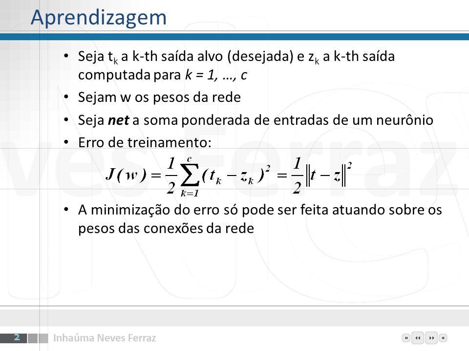 Seja t k a k-th saída alvo (desejada) e z k a k-th saída computada para k = 1, …, c Sejam w os pesos da rede Seja net a soma ponderada de entradas de um neurônio 3 Notação para a dedução