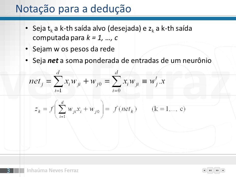 Para minimizar o erro é preciso igualar a zero sua derivada em relação aos pesos Erro é função de net e net é função dos pesos Derivando parcialmente (camada de saída) k mostra a variação do erro com a unidade (neurônio) 4 Minimização do erro