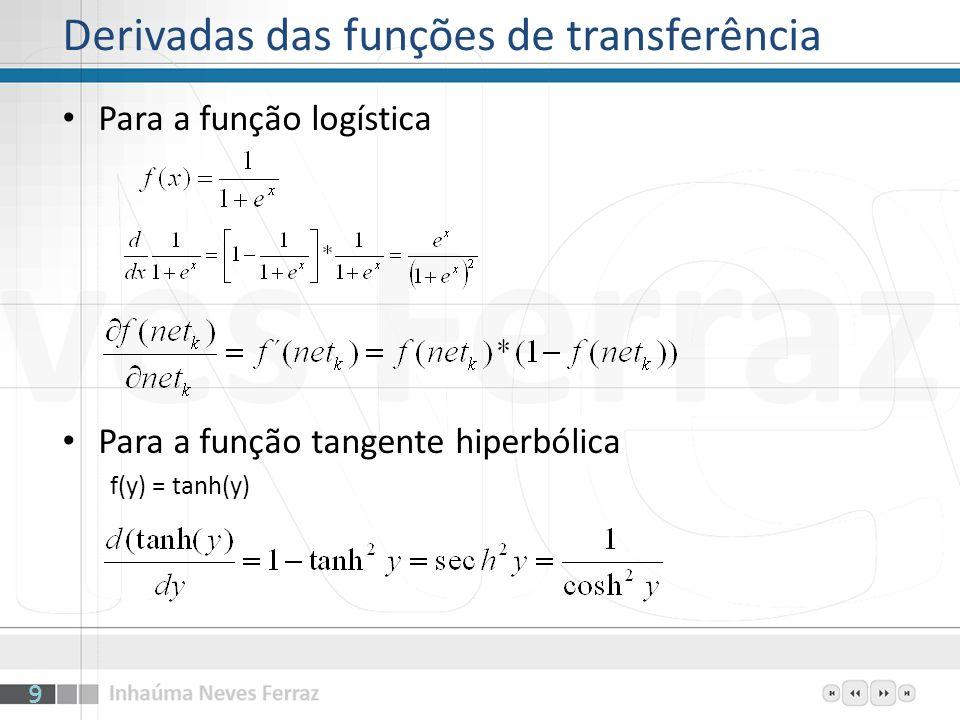 Derivadas das funções de transferência Para a função logística Para a função tangente hiperbólica f(y) = tanh(y) 9