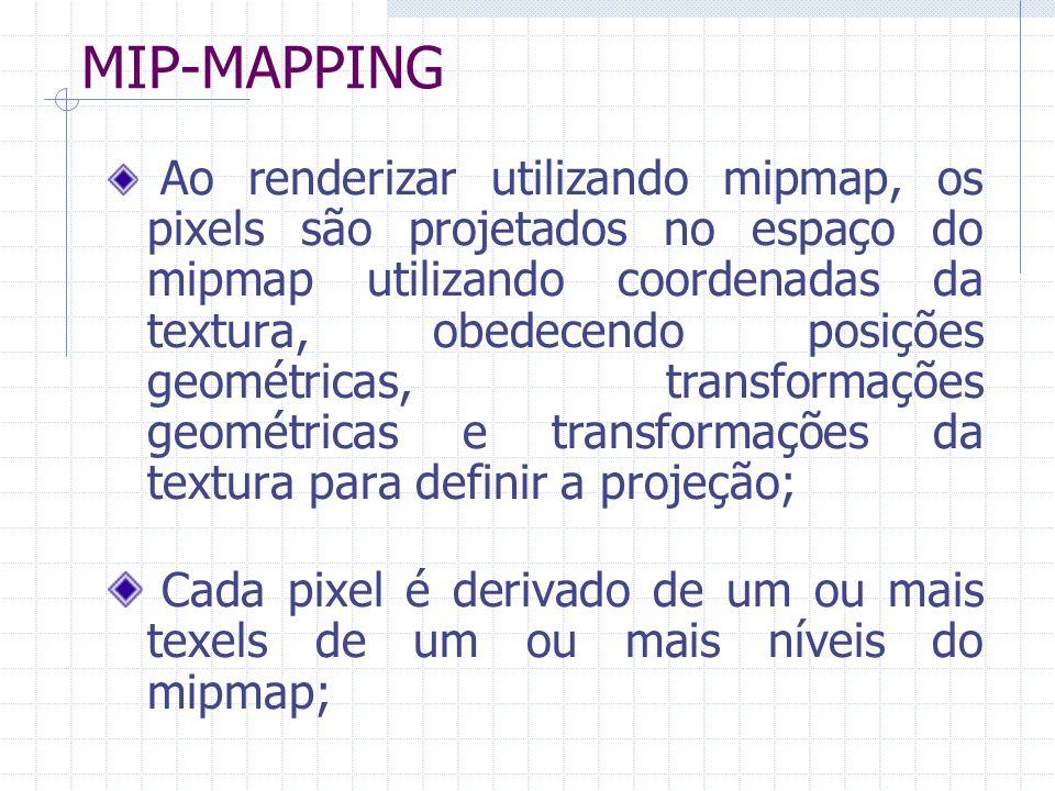 MIP-MAPPING Ao renderizar utilizando mipmap, os pixels são projetados no espaço do mipmap utilizando coordenadas da textura, obedecendo posições geomé