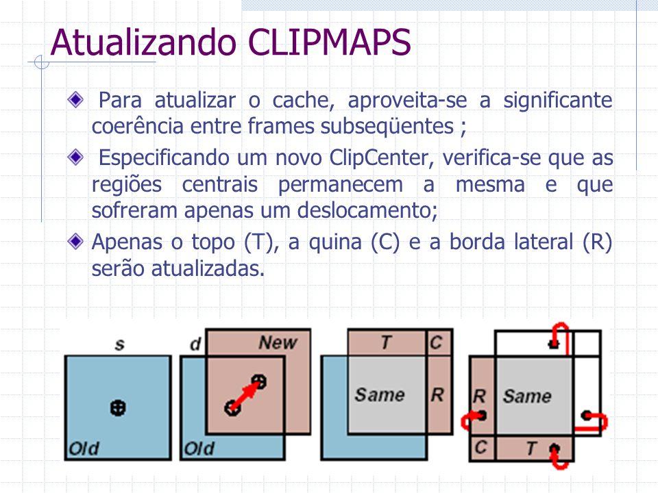 Atualizando CLIPMAPS Para atualizar o cache, aproveita-se a significante coerência entre frames subseqüentes ; Especificando um novo ClipCenter, verif