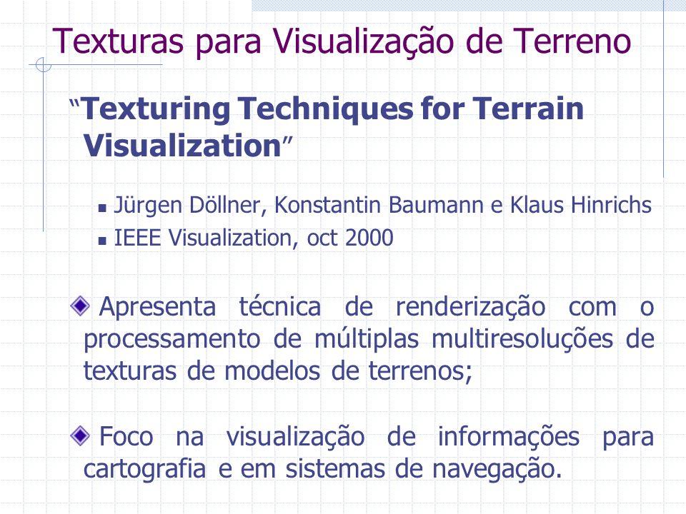 Texturas para Visualização de Terreno Texturing Techniques for Terrain Visualization Jürgen Döllner, Konstantin Baumann e Klaus Hinrichs IEEE Visualiz