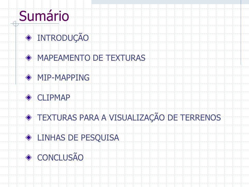 Sumário INTRODUÇÃO MAPEAMENTO DE TEXTURAS MIP-MAPPING CLIPMAP TEXTURAS PARA A VISUALIZAÇÃO DE TERRENOS LINHAS DE PESQUISA CONCLUSÃO