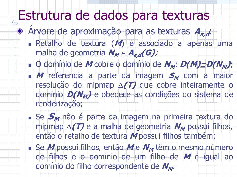 Estrutura de dados para texturas Árvore de aproximação para as texturas A s,d : Retalho de textura (M) é associado a apenas uma malha de geometria N M