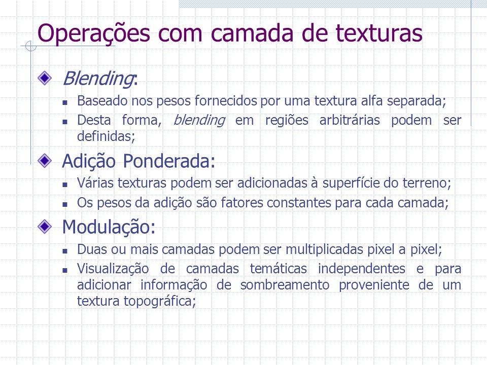 Operações com camada de texturas Blending: Baseado nos pesos fornecidos por uma textura alfa separada; Desta forma, blending em regiões arbitrárias po