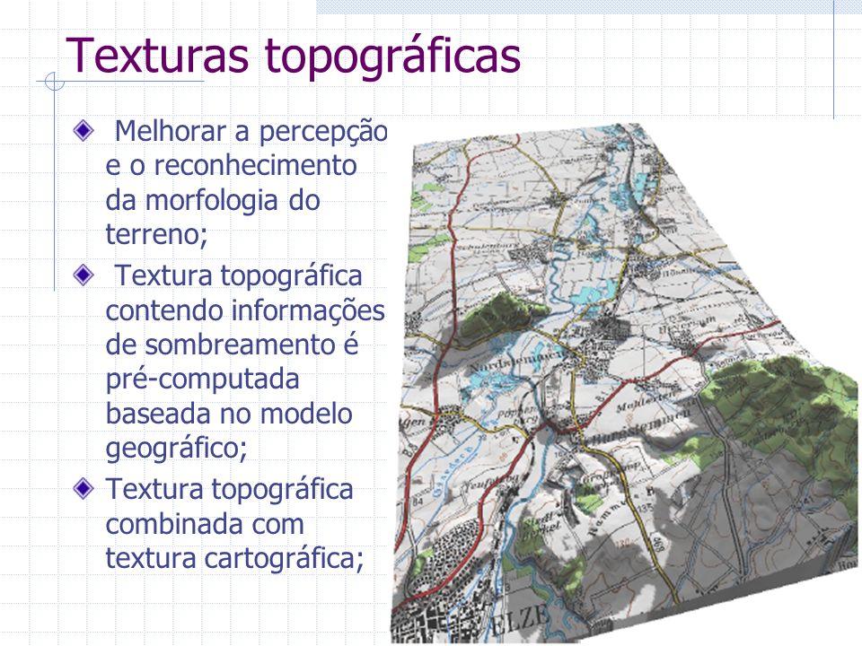 Texturas topográficas Melhorar a percepção e o reconhecimento da morfologia do terreno; Textura topográfica contendo informações de sombreamento é pré