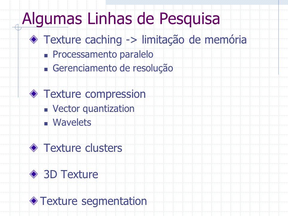 Algumas Linhas de Pesquisa Texture caching -> limitação de memória Processamento paralelo Gerenciamento de resolução Texture compression Vector quanti
