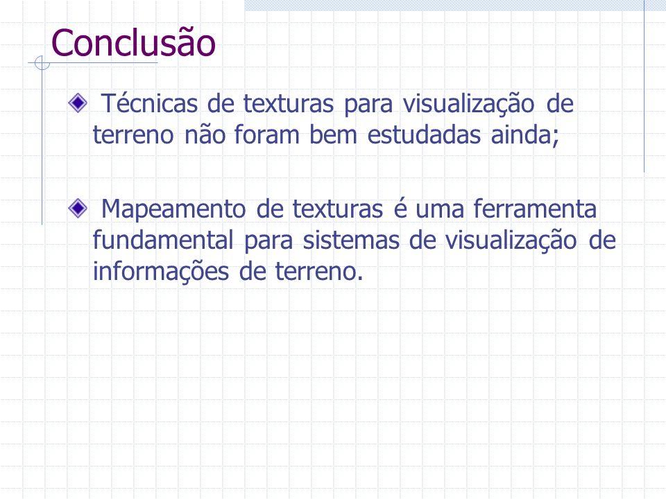 Conclusão Técnicas de texturas para visualização de terreno não foram bem estudadas ainda; Mapeamento de texturas é uma ferramenta fundamental para si
