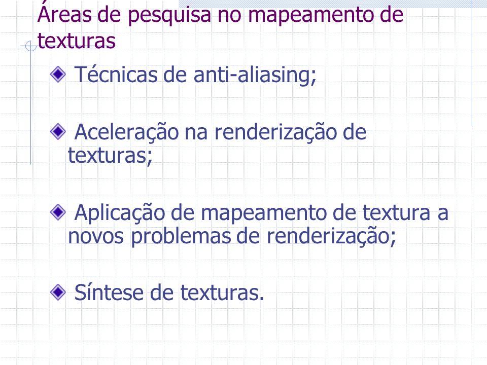 Áreas de pesquisa no mapeamento de texturas Técnicas de anti-aliasing; Aceleração na renderização de texturas; Aplicação de mapeamento de textura a no