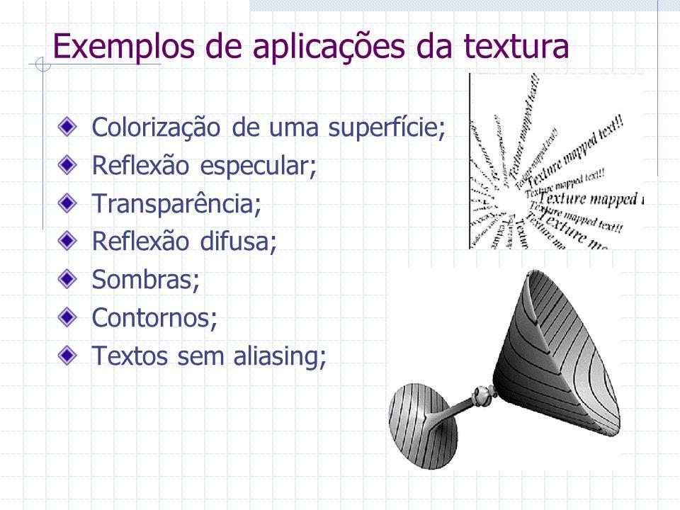 Exemplos de aplicações da textura Colorização de uma superfície; Reflexão especular; Transparência; Reflexão difusa; Sombras; Contornos; Textos sem al