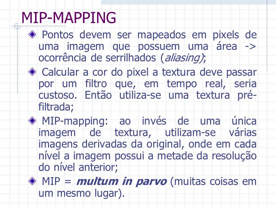 MIP-MAPPING Pontos devem ser mapeados em pixels de uma imagem que possuem uma área -> ocorrência de serrilhados (aliasing); Calcular a cor do pixel a