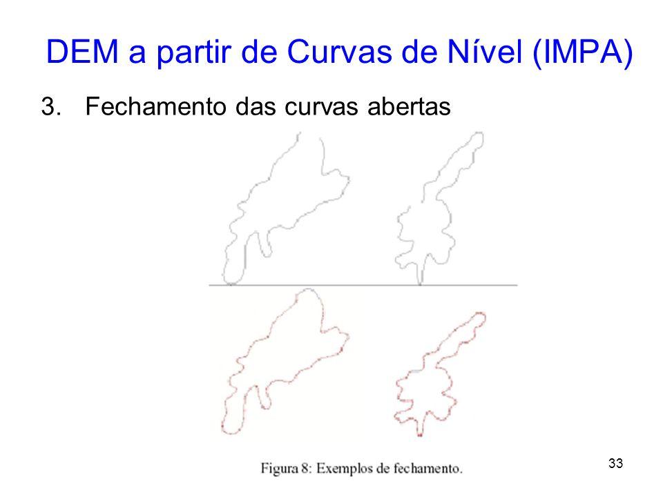 32 DEM a partir de Curvas de Nível (IMPA) Etapas: 1.Leitura das curvas de nível –As curvas testadas estavam no formato DGN, o qual é proprietário da I