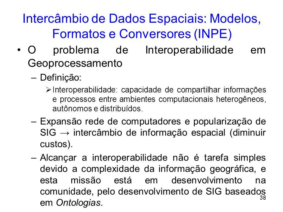37 Parte III – Intercâmbio de Dados Espaciais: Modelos, Formatos e Conversores (INPE) Introdução –Desafios das geotecnologias: é o intercâmbio de dado
