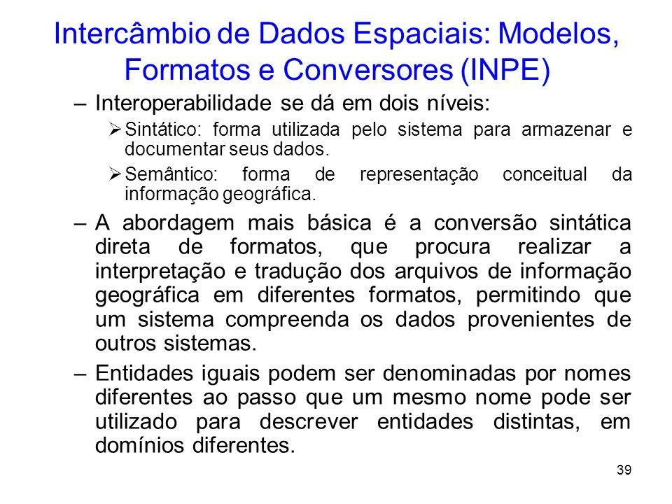 38 Intercâmbio de Dados Espaciais: Modelos, Formatos e Conversores (INPE) O problema de Interoperabilidade em Geoprocessamento –Definição: Interoperab