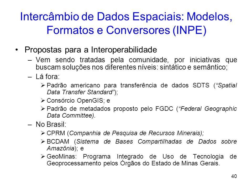 39 Intercâmbio de Dados Espaciais: Modelos, Formatos e Conversores (INPE) –Interoperabilidade se dá em dois níveis: Sintático: forma utilizada pelo si