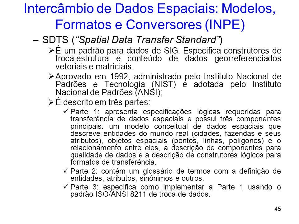 44 Intercâmbio de Dados Espaciais: Modelos, Formatos e Conversores (INPE) DXF – AutoCad O formato DXF é o formato de exportação usado pelo software Au